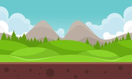 Flat Mountain Video Game Background. Flat and cloudy mountain for creating 2d video game background Royalty Free Stock Image
