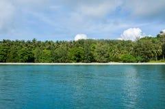 Flat Coast of the Trees covered Island Stock Image