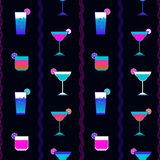 Alcohol cocktails flat seamless pattern vector illustration