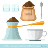 Flat coffee cup bag spoon lump sugar coffee beans turk on white Royalty Free Stock Images