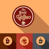 Flat coffee design elements Royalty Free Stock Images