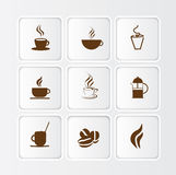 Flat coffee icon illustration, different symbols a. Selection of symbols or icons for coffee and coffee shops on white flat buttons with inner shadow Royalty Free Illustration