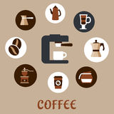 Flat coffee icons around the coffee machine Stock Images