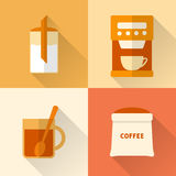 Flat coffee icons set Royalty Free Stock Photography