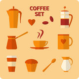 Flat coffee icons set Royalty Free Stock Photo