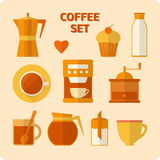 Flat coffee icons set Stock Images