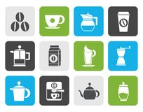 Flat coffee industry signs and icons Royalty Free Stock Photos