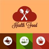 Flat health food icons Stock Photography