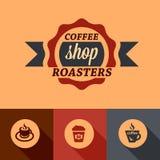 Flat coffee shop design elements Stock Photos