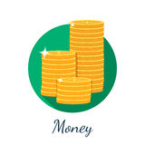 Flat coin icon Stock Photography