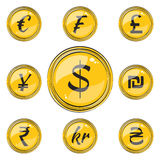 Flat Coins with Currency Symbols Royalty Free Stock Photography