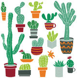 Flat collection of cute potted cactuses. Royalty Free Stock Images