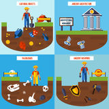 Flat Color  Archeology Design Concept Set Royalty Free Stock Image