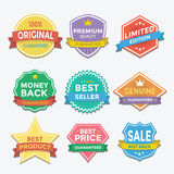 Flat color badges and labels promotion design Royalty Free Stock Images