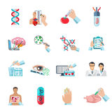 Flat Color Biotechnology Icons Set Royalty Free Stock Images