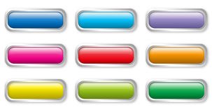 Flat color buttons. Colorful shiny flat rectangular glass buttons Stock Photo