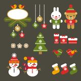 Flat color christmas icons for web and applications Stock Images
