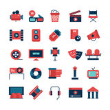 Flat Color Cinema Icons. Flat color set of movie icons and cinema symbols with camcorder TV screen 3D glasses and filming attributes isolated vector illustration Stock Photos