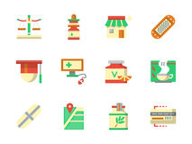 Flat color design chemists shop icons Royalty Free Stock Photography