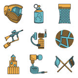 Flat color design icons for paintball Stock Photo