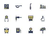 Flat color design measuring devices icons Royalty Free Stock Image