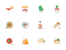 Flat color design mexican cuisine icons Stock Image