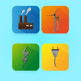 Flat Color Electricity Icon Royalty Free Stock Photography