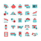 Flat Color Finance Icons Set. With piggy bank credit cards  bag of money safe pocketbook and dollar sign isolated vector illustration Royalty Free Stock Images