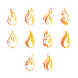 Flat color fire icon set Stock Photos