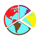 Flat color globe icon. Simple flat color globe icon vector Stock Image