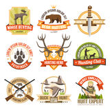 Flat Color Hunting Emblems Stock Image