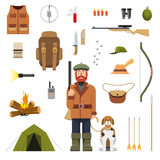 Flat color hunting icons set. Hunter with rifle and dog  vector illustration Stock Photo