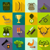 Flat color hunting icons set. Isolated vector illustration. Cartoon style. Royalty Free Stock Image