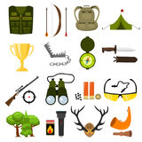 Flat color hunting icons set. Isolated vector illustration. Cartoon style. Royalty Free Stock Photography