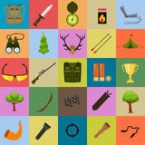 Flat color hunting icons set. Isolated vector illustration. Cartoon style. Stock Photo