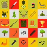 Flat color hunting icons set. Isolated vector illustration. Cartoon style. Stock Photos
