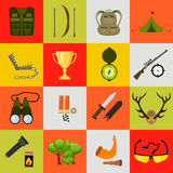 Flat color hunting icons set.  vector illustration. Cartoon style. Stock Image