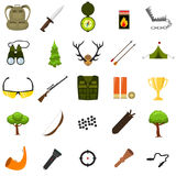 Flat color hunting icons set.  vector illustration. Cartoon style. Stock Photo