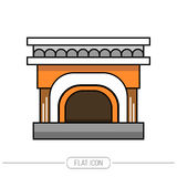 Flat color icon fireplace, stove  on white background. Vector. Illustration Royalty Free Stock Photo