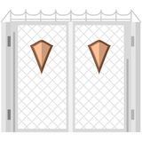Flat color icon for steel gates with shields Royalty Free Stock Image