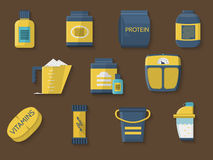 Flat color icons for athlete diet Stock Photos