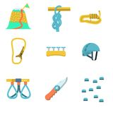 Flat color icons for climbing outfit Royalty Free Stock Photos