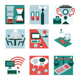 Flat color icons for co-working Royalty Free Stock Images