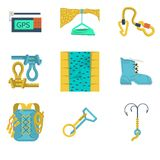 Flat color icons collection of mountaineering Royalty Free Stock Photos