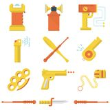 Flat color icons collection of self-defense. Set of flat yellow and orange color icons for self defence weapons and devices on white background stock illustration
