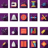 Flat color icons collection of sewing Stock Images