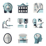 Flat color icons for CT scan. MRI. Flat color design icons collection for MRI research elements. CT scan, MRI equipment, brain scan and other for your website stock photos
