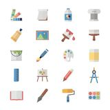 Flat Color Icons Design Set of Art and Painting Icons. Royalty Free Stock Images