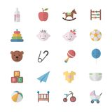 Flat Color Icons Design Set of Baby and Toy Icons. Royalty Free Stock Photography