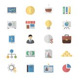 Flat Color Icons Design Set of Business and Finance Icons. Stock Images